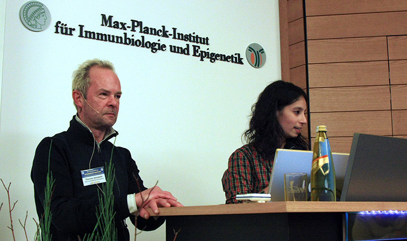 Asifa Akhtar and Thomas Jenuwein open the meeting MPI-IE